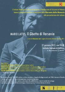 Presentazione del volume Mario Lattes, Il ghetto di Varsavia