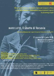 Prezentację książki Mario Lattes, Il Ghetto di Varsavia
